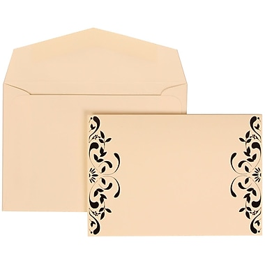 JAM Paper® Wedding Invitation Set, Small, 3 3/8 x 4 3/4, Ivory with Ivory Envelopes and Monogram Ribbon, 100/pack (303224684)