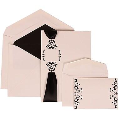 JAM Paper® Wedding Invitation Combo Sets, 1 Sm 1 Lg, White Cards, Monogram, Ribbon, Black Lined Envelopes, 150/pack (303224688)