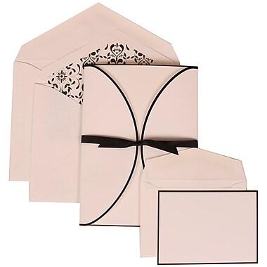 JAM Paper® Wedding Invitation Combo Sets, 1 Sm 1 Lg, White Cards, Black Ribbon, White Envelopes, 150/pack (303424756)