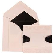 JAM Paper® Wedding Invitation Envelope Black Ribbon Square Set White Card with Black Lined Envelope, 50/Pack
