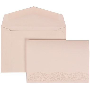 JAM Paper® Wedding Invitation Set, Small, 3 3/8 x 4 3/4, White with White Envelopes Black Ribbon, 100/pack (303524837)
