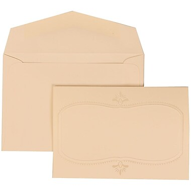 JAM Paper® Wedding Invitation Set, Small, 3 3/8 x 4 3/4, Ivory Cards with Monogram Design, Ivory Envelopes, 100/pack (303624858)