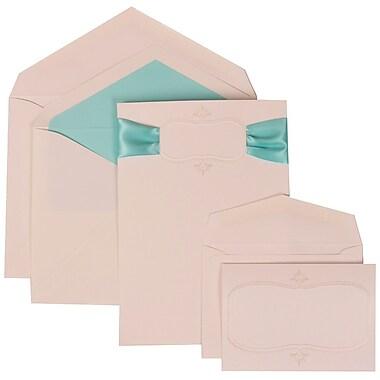 JAM Paper® Wedding Invitation Combo Sets, 1 Sm 1 Lg, White, Monogram, Blue Ribbon, Tropical Blue Lined Env, 150/pack (303624862)