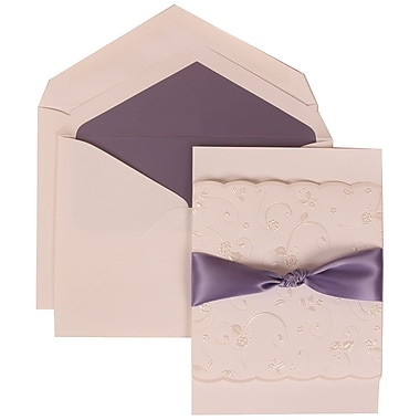 JAM Paper® Wedding Invitation Set Purple Ribbon Set White Card with Purple Lined Envelope, 50/Pack