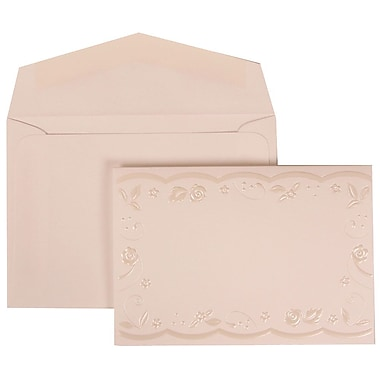 White Card with White Envelope Small Wedding Invitation Silver Rose Ribbon Set - 100 cards (3 3/8 x 4 3/4)