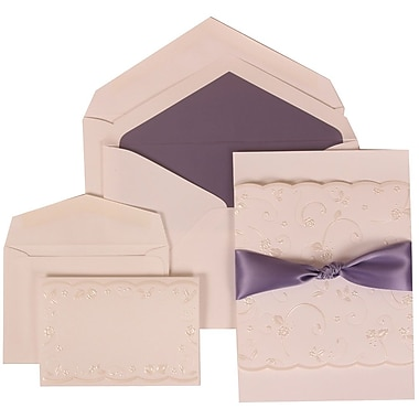 JAM Paper® Wedding Invitation Combo Sets, 1 Sm 1 Lg, White Cards, Purple Ribbon, Purple Lined Envelopes 150/pack (304024968)