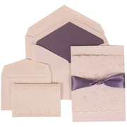 JAM Paper® White Card with Purple Lined Envelope Wedding Invitation Purple Ribbon Set Combo, 150/Pack