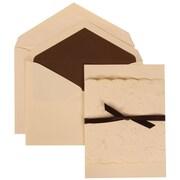 JAM Paper® Wedding Invitation Set Brown Ribbon Set Ivory Card with Brown Lined Envelope, 50/Pack