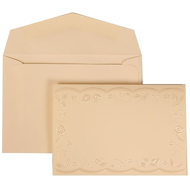 JAM Paper® Wedding Invitation Set, Small, 3 3/8 x 4 3/4, Ivory with Ivory Envelopes and Brown Ribbon, 100/pack (304124977)