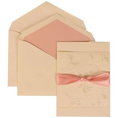 JAM Paper® Wedding Invitation Set, Large, 5.5 x 7.75, Ivory Cards, Flowers, Pink Ribbon, Pink Lined Envelopes, 50/pk (304225009)