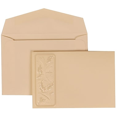 JAM Paper® Wedding Invitation Set, Small, 3 3/8 x 4 3/4, Ivory Card with Embossed Leaves, Ivory Envelopes, 100/pack (304225010)