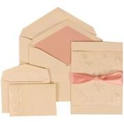 JAM Paper® Wedding Invitation Set Falling Leaves Ribbon Set Ivory Card with Pink Lined Envelope, 150/Pack