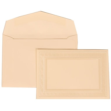 JAM Paper® Wedding Invitation Set, Small, 3 3/8 x 4 3/4, Ivory with Ivory Envelopes and Ivory Border Bow, 100/pack (304724666)