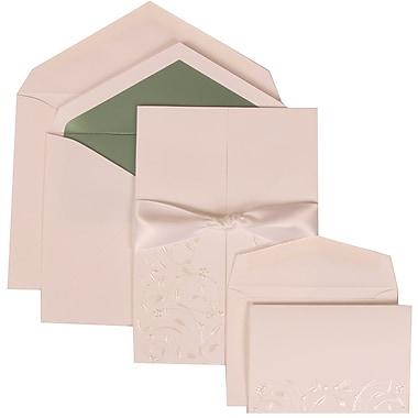 JAM Paper® Wedding Invitation Combo Sets, 1 Sm 1 Lg, White Cards, Heart Garden, Ribbon, Green Lined Envelope, 150/pk (306224782)