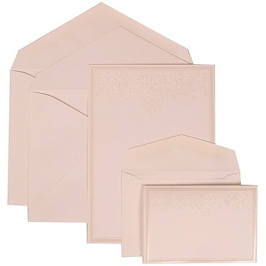 JAM Paper® Wedding Invitation Combo Sets, 1 Sm 1 Lg, White Cards, Ivory Heart Jewels, White Envelopes, 150/pack (305424707)