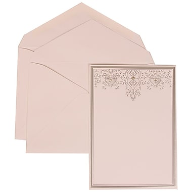 JAM Paper® Wedding Invitation Set, Large, 5.5 x 7.75, White Cards, Silver Heart Jewels, White Envelopes, 50/pack (305524711)