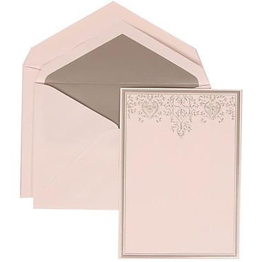 JAM Paper® Wedding Invitation Set, Large, 5.5 x 7.75, White, Silver Heart Jewels, Silver Lined Envelopes, 50/pack (305524718)
