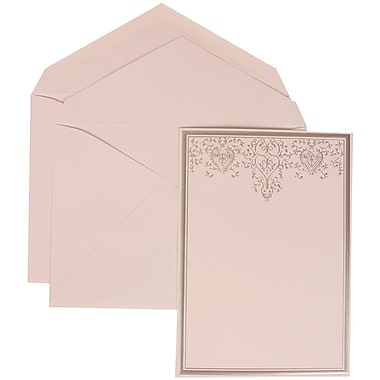 JAM Paper® Large Wedding Invitation Silver Heart Jewel Set White Card with White Envelope Large, 50/Pack