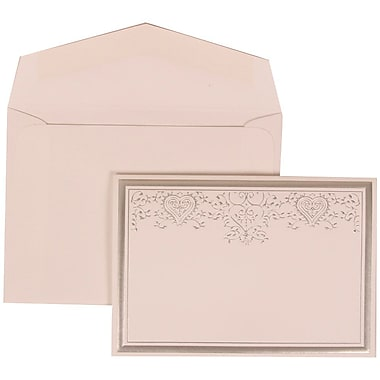 JAM Paper® Wedding Invitation Set, Small, 3 3/8 x 4 3/4, White with White Envelopes and Silver Heart Jewel, 100/pack (305524715)