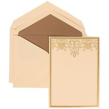 JAM Paper® Wedding Invitation Set, Large, 5.5 x 7.75, Ivory, Gold Heart Jewel Design, Taupe Lined Envelopes, 50/pack (305624725)