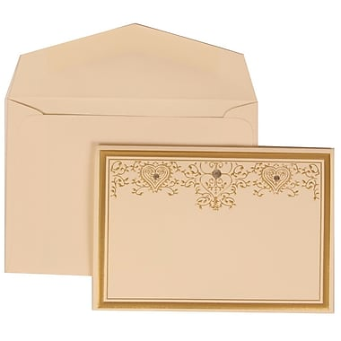 JAM Paper® Wedding Invitation Set, Small, 3 3/8 x 4 3/4, Ivory with Ivory Envelopes and Gold Heart Jewel, 100/pack (305624723)