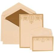 JAM Paper® Wedding Invitation Combo Sets, 1 Sm 1 Lg, Ivory, Ivory Lined Envelopes, Gold Heart Jewel Design, 150/pack (305624724)