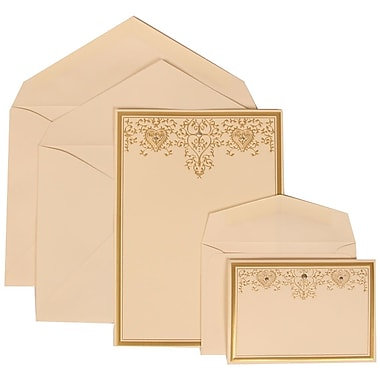 JAM Paper® Wedding Invitation Combo Sets, 1 Sm 1 Lg, Ivory, Ivory Lined Envelopes, Gold Heart Jewel Design, 150/pack (305624728)