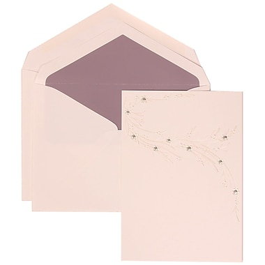 JAM Paper® Wedding Invitation Set, Large, 5.5 x 7.75, White, Ivory Flower Design, Passion Purple Lined Env, 50/pack (310925322)