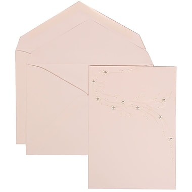 JAM Paper® Wedding Invitation Set, Large, 5.5 x 7.75, White Cards, Ivory Flower Design, White Envelopes, 50/pack (310925173)