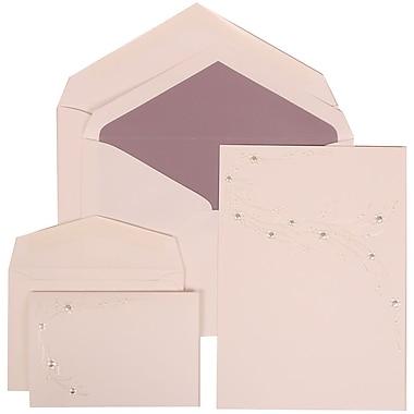 JAM Paper® Wedding Invitation Combo Sets, 1 Sm 1 Lg, White, Ivory Flower Design, Passion Purple Lined Env, 150/pack (310925166)
