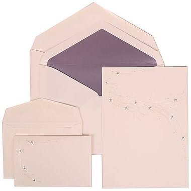 JAM Paper® Wedding Invitation Combo Sets, 1 Sm 1 Lg, White, Ivory Flower Design, Purple Lined Envelopes, 150/pack (310925170)
