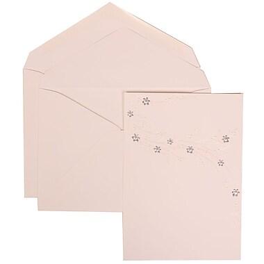 JAM Paper® Wedding Invitation Set, Large, 5.5 x 7.75, White, Purple Flower Jewel Design, White Envelopes, 50/pack (310925186)