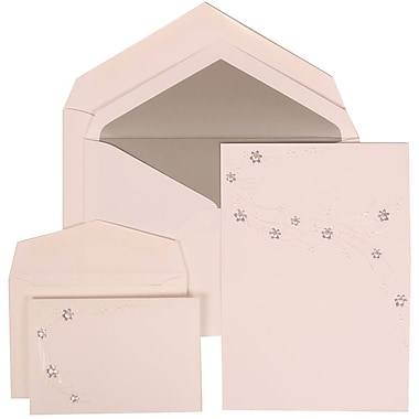 JAM Paper® Wedding Invitation Combo Sets, 1 Sm 1 Lg, White, Purple Flower Jewel Design, Silver Lined Env, 150/pack (310925185)