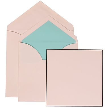 JAM Paper® Wedding Invitation Set, Large Square, 6.25 x 6.25, White Cards, Black Border, Blue Lined Envelopes, 50/pk (306824823)