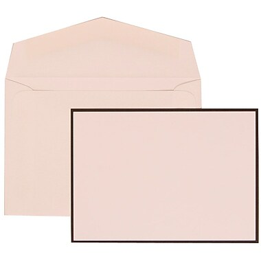 JAM Paper® Wedding Invitation Set, Small, 3 3/8 x 4 3/4, White with White Envelopes and Black Border, 100/pack (306824818)