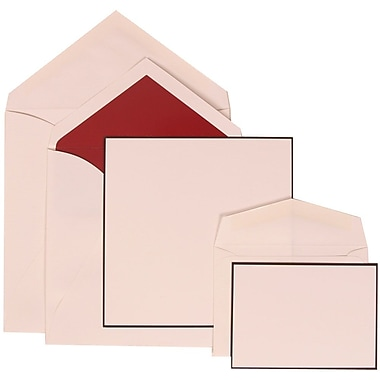 JAM Paper® Wedding Invitation Combo Sets, 1 Sm 1 Lg, White Cards with Black Border, Red Lined Envelopes, 150/pack (306824822)