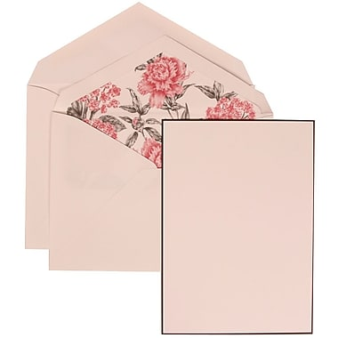 JAM Paper® Wedding Invitation Set, Large, 5.5 x 7.75, White, Black Border Floral, Pink Floral Lined Envelopes, 50/pk (306924829)
