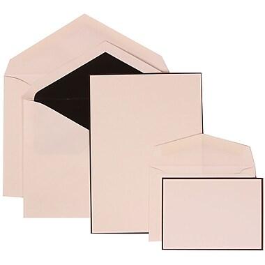 JAM Paper® Wedding Invitation Combo Sets, 1 Sm 1 Lg, White Cards, Black Floral Border, Black Lined Envelopes, 150/pk (306924828)