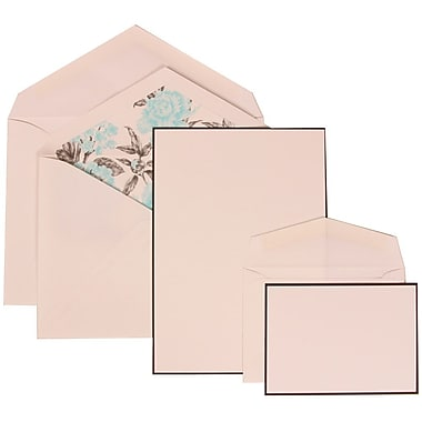 JAM Paper® Wedding Invitation Combo Sets, 1 Sm 1 Lg, White, Black Border Floral, Blue Floral Lined Envelopes, 150/pk (306924832)