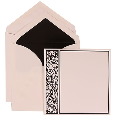 JAM Paper® Wedding Invitation Set, Large, 7 x 7, White with Black Lined Envelopes and Black Intricate Panel, 50/pack (307024833)