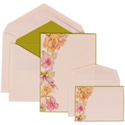 JAM Paper® Wedding Invitation Green Flower Envelope White Card with Kiwi Green Lined, 150/Pack