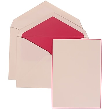 JAM Paper® Wedding Invitation Envelope Pink Border Card With Pink Lined, 50/Pack