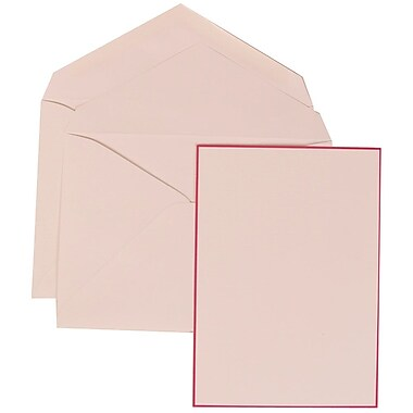 JAM Paper® Wedding Invitation Set, Large, 5.5 x 7.75, White Cards with Pink Border, White Envelopes, 50/pack (308024919)