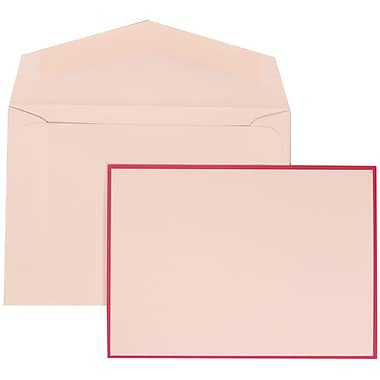 JAM Paper® Wedding Invitation Set, Small, 3 3/8 x 4 3/4, White Cards with Pink Border, White Envelopes, 100/pack (308024917)