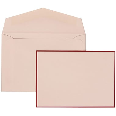 JAM Paper® Wedding Invitation Set, Small, 3 3/8 x 4 3/4, White Cards with Crimson Red Border, White Envelopes,100/pk (308024922)