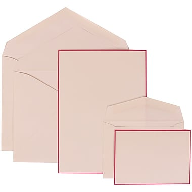 JAM Paper® Wedding Invitation Combo Sets, 1 Sm 1 Lg, White Cards with Pink Border, White Envelopes, 150/pack (308024920)