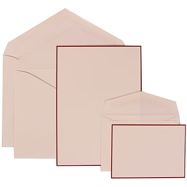 JAM Paper® Wedding Invitation Combo Sets, 1 Sm 1 Lg, White Cards with Red Border, White Envelopes, 150/pack (308024925)