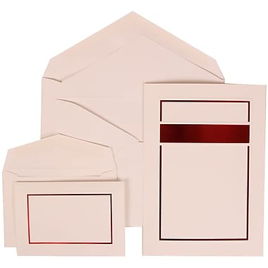 JAM Paper® Wedding Invitation Combo Sets, 1 Sm 1 Lg, White Cards, Red Band Design, White Envelopes, 150/pack (310025087)