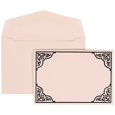 JAM Paper® Wedding Invitation Set, Small, 3 3/8 x 4 3/4, Black with Ornate Border with White Envelopes, 100/pack (310125089)