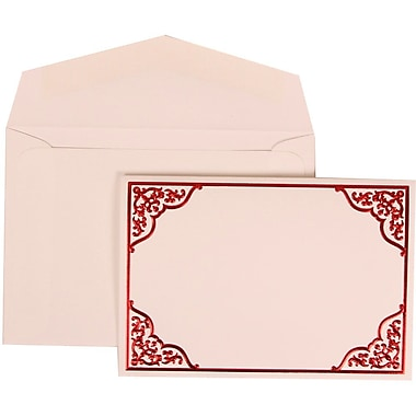 JAM Paper® Wedding Invitation Set, Small, 3 3/8 x 4 3/4, White Cards with Red Ornate Border, White Envelopes, 100/pk (310125092)